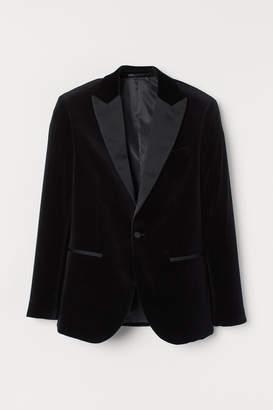H&M Slim Fit Velvet Tuxedo Jacket - Black