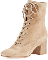 Gianvito Rossi Suede Lace-Up Chunky Bootie