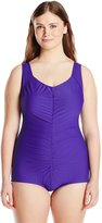 Maxine Of Hollywood Women's Plus-Size Tricot Shirred Front Girl Leg One Piece Swimsuit