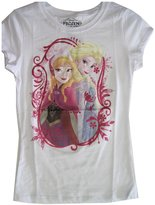 Disney Little Girls Anna Elsa Characters Portrait Print T-Shirt