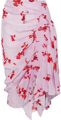 Preen Line Mertilda Asymmetric Floral-print Crepe De Chine Skirt