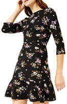 Warehouse Molly Floral Ponte Dress, Multi