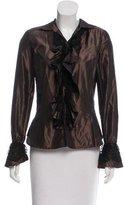 Ralph Lauren Black Label Lace-Trimmed Silk Top