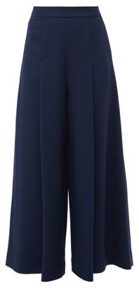 Emilia Wickstead Pacifica Wool-crepe Wide-leg Trousers - Womens - Dark Navy