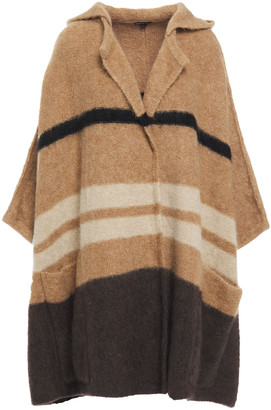 James Perse Color-block Melange Knitted Hooded Cape