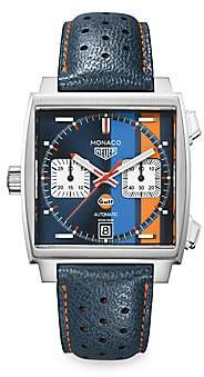 Tag Heuer Women's Monaco 39MM Calibre 11 Gulf Special Edition Stainless Steel Automatic Chronograph Watch