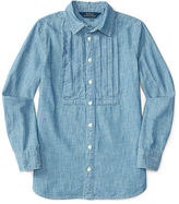 Ralph Lauren Pleated Cotton Chambray Tunic