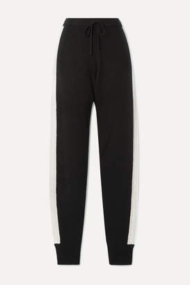 Madeleine Thompson Tic Toc Cable-knit Cashmere Track Pants - Black
