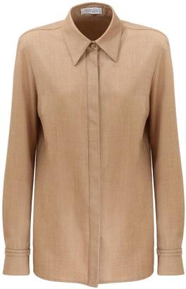 Gabriela Hearst Hopsack Wool & Cashmere Flannel Shirt