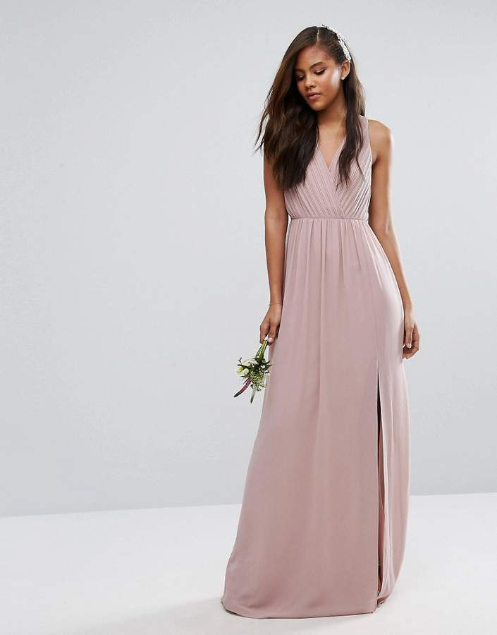 Tfnc Tall Wedding Pleated Maxi Dress With Open Back Detail