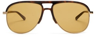 Gucci Aviator Acetate And Metal Sunglasses - Brown