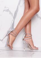 Missy Empire Flora Silver Metallic Triple Strap Heels