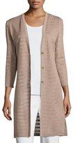 Misook 3/4-Sleeve Long Textured Jacket, Macchiato