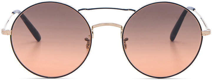 Oliver Peoples Nickol Sunglasses in Brushed Gold & Sunset   FWRD