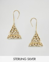 Asos Gold Plated Sterling Silver Hammered Triangle Earrings