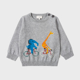 Paul Smith Baby Boys' Grey Cotton-Cashmere 'Cycling Animals' Sweater