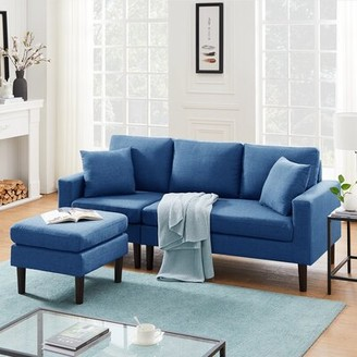 "George Oliver Herbst 77.16"" Wide Reversible Modular Sofa & Chaise with Ottoman Fabric: Navy Blue Polyester"