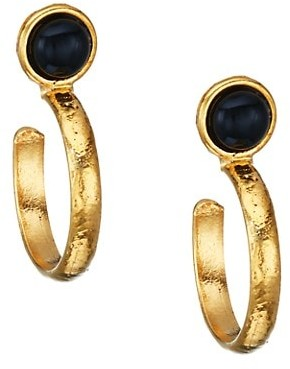 Sylvia Toledano Goldtone & Black Onyx Hoop Earrings