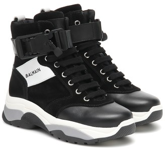 Balmain Kids High-top leather sneakers