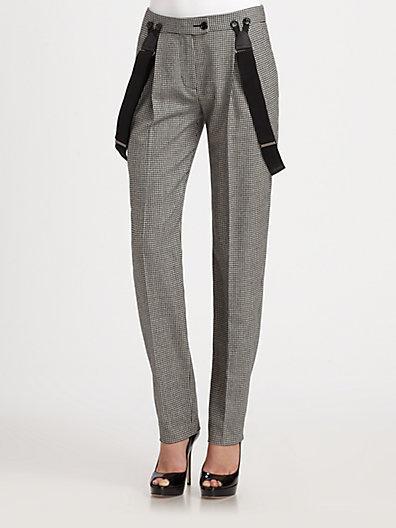 Moschino Cheap & Chic Moschino Cheap And Chic Check Wool-Blend Suspender Straight-Leg Pants