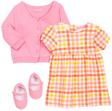 Isaac Mizrahi Gingham Dress, Cardigan & Shoe Set (Baby Girls 0-9M)