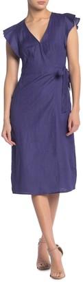 ASTR the Label Linen Blend Wrap Midi Dress