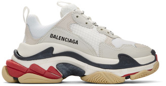 Balenciaga White and Grey Triple S Sneakers