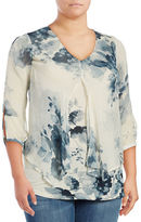 Lucky Brand Plus Plus Watercolor Floral Top