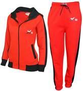 X-2 Women Athletic Full Zip Fleece Tracksuit Jogging Sweatsuit Activewear Hooded Top M