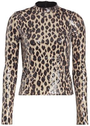 A.L.C. Marshall Sequin Leopard Print Mockneck Top