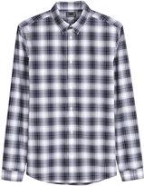 H&M Plaid Premium Cotton Shirt - Dark blue - Men