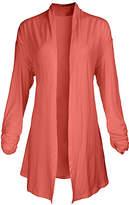 Lily Women's Open Cardigans CRL - Coral Pointed-Hem Open Cardigan - Women & Plus