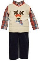 Bonnie Jean Boys Holiday Outfit Plaid Reindeer Sweater Vest Pant Set Infant Toddler