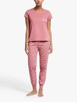 John Lewis & Partners Selina Hearts Short Sleeve Pyjama Set, Pink