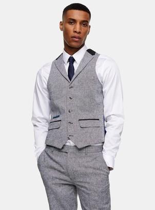 Topman HARRY BROWN Grey Slim Suit Waistcoat