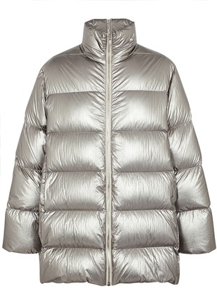 Rick Owens X Moncler Cyclopic Silver Quilted Shell Coat