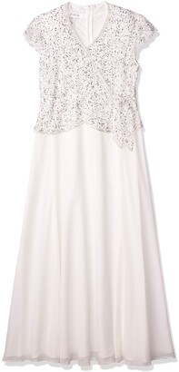 J Kara Women's Illusion Cap Sleeve Long Dress