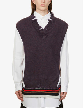 Maison Margiela Deconstructed wool and cotton-blend cardigan