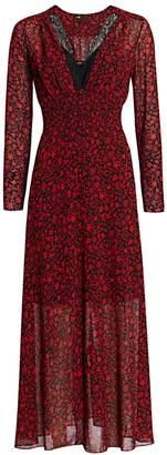 Maje Ravila Lace Trim Floral Print Midi Dress