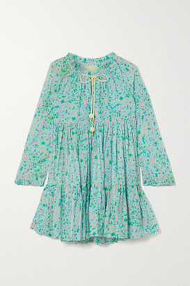 Yvonne S Hippy Tiered Printed Cotton-voile Mini Dress - Turquoise