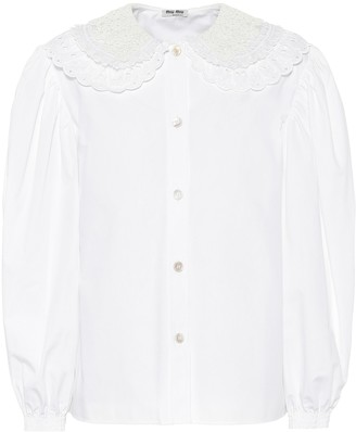Miu Miu Guipure lace cotton-poplin blouse