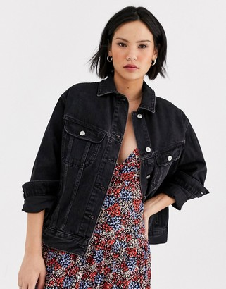 Topshop denim jacket in black