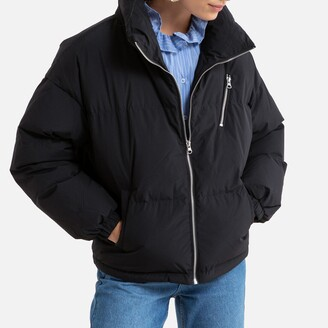 Benetton Zip-Up Padded Jacket with High-Neck and Pockets