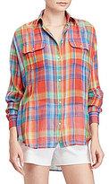 Lauren Ralph Lauren Petite Plaid Crinkled Cotton Shirt
