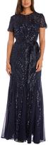 R & M Richards Navy Sequin Tie-Waist Gown