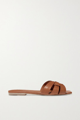 Saint Laurent Nu Pieds Woven Leather Slides - Brown