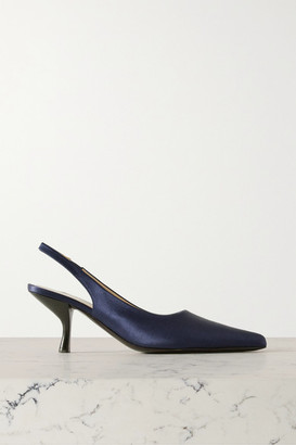 The Row Bourgeoise Satin Slingback Pumps - Midnight blue