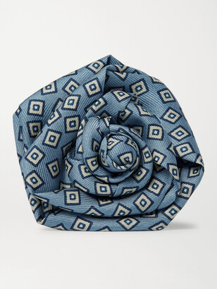 Charvet Printed Silk-Faille Flower Lapel Pin - Men - Blue