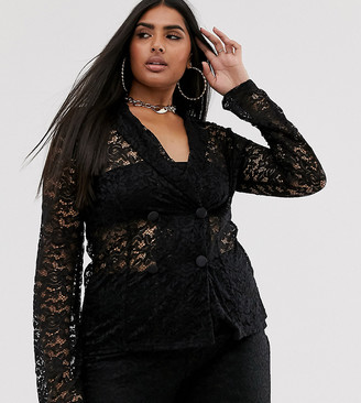 Club L London Plus sheer lace blazer-Black