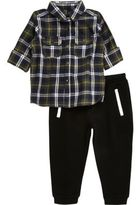 River Island Mini boys khaki check shirt joggers set
